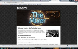 The Cocktail Lovers interviewed ofr the Diageo Grayling Newsletter