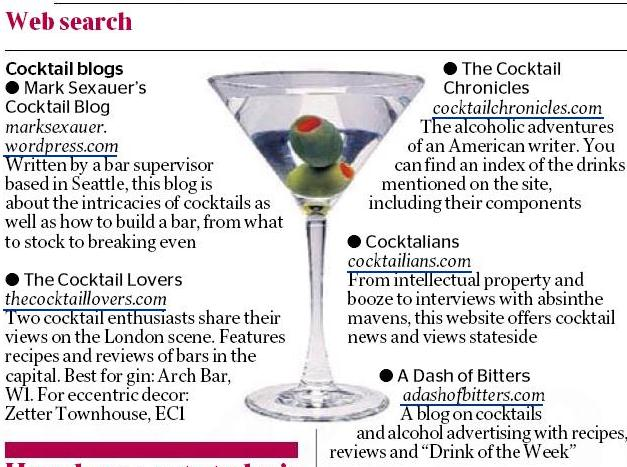 The Cocktail Lovers in The Times Newspaper