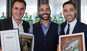 l-r: Italicus founder Giuseppe Gallo, winner Andrea Melis and Italicus Global Brand Ambasador Luca Missaglia