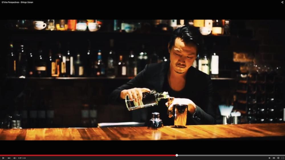 Shingo Gokan creates a cocktail for Masaharu Morimoto